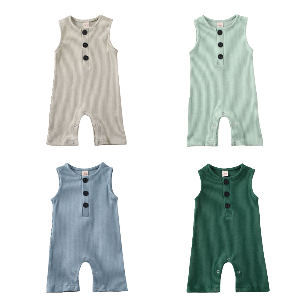 Newborn Infant Unisex Baby Boy Girl Sleeveless Button Solid Knitted Romper Bodysuit One Piece Jumpsuit Outfits Clothes