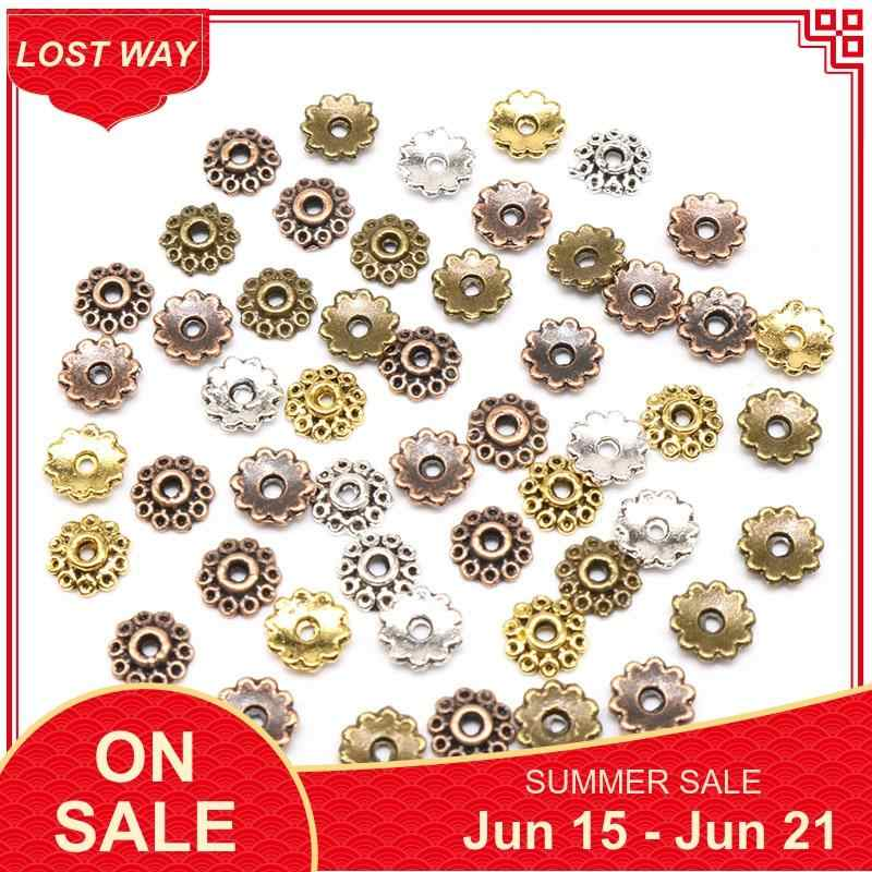 200pcs Silver//Gold//Copper//Bronze Plated Flower Bead Caps 22mm S3-S6
