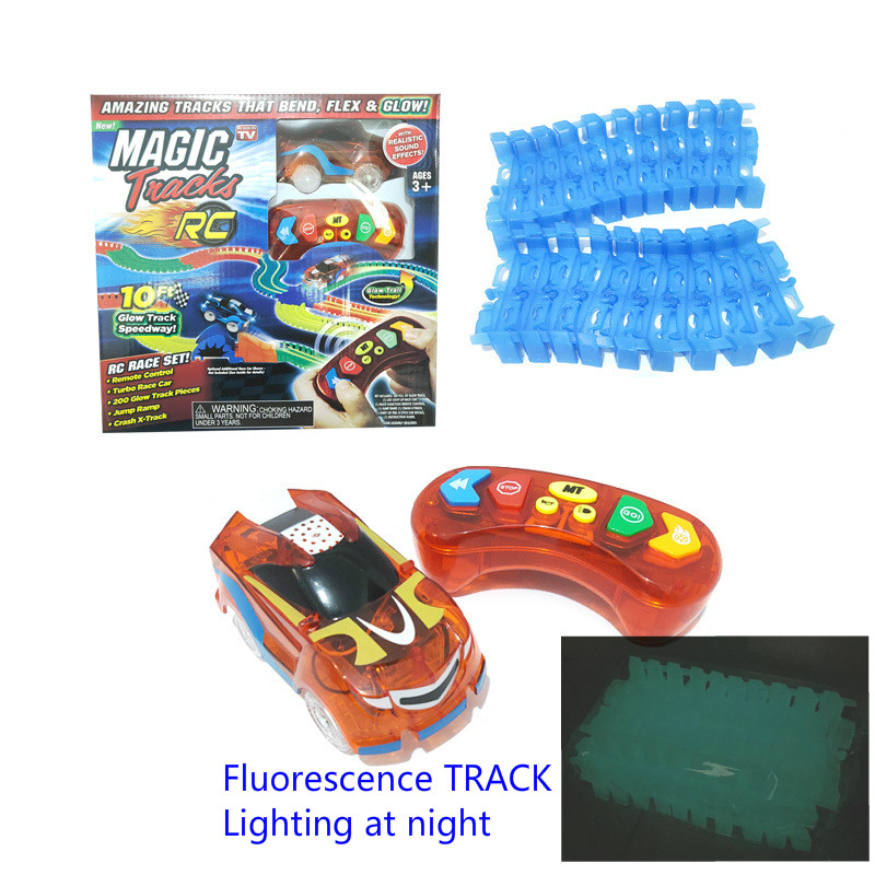 2.4G Mini RC Toy Car With Magical Glow Track Soft Block Trail Long Race Game Fluorescence Light Orbit Remote Control LED Vehicle