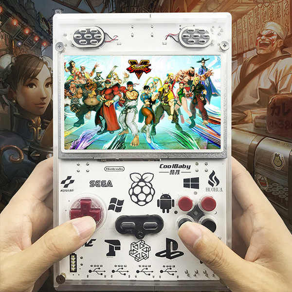 5.0 Inch IPS Screen Handheld Console for Raspberry Pi Retro Game Player Built-In over 11000 Games Video Game Console(US Plug)