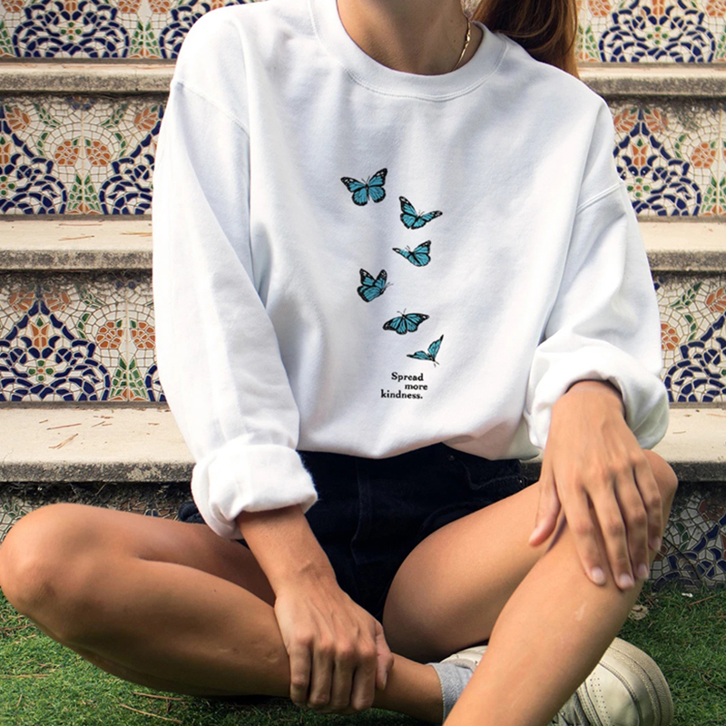 Spread More Kindness Butterfly Print Sweatshirt Women Aesthetic Hoodie Be Kind Crewneck Tops Autumn Womens Clothing Dropshipping