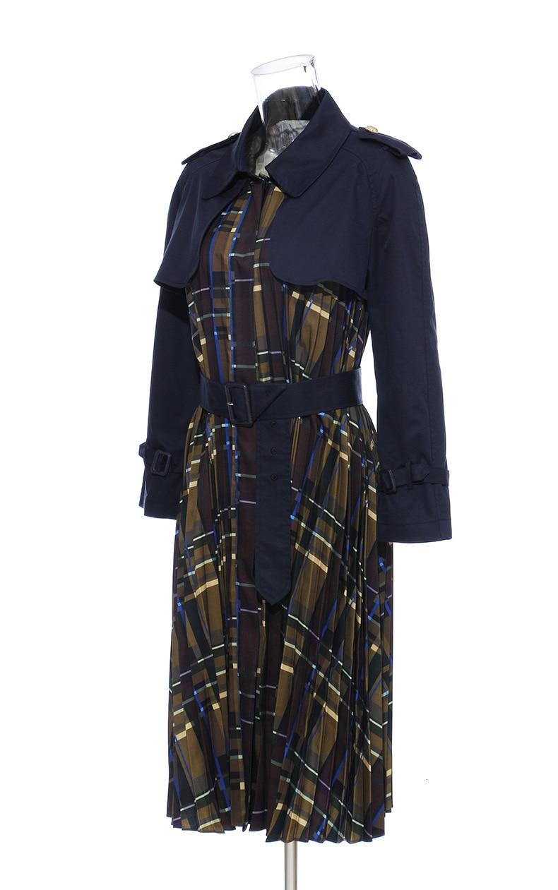 [EAM] Women Belt Pleated Hit Color Trench New Lapel Long Sleeve Loose Fit Windbreaker Fashion Tide Autumn Winter 19 1B096 24
