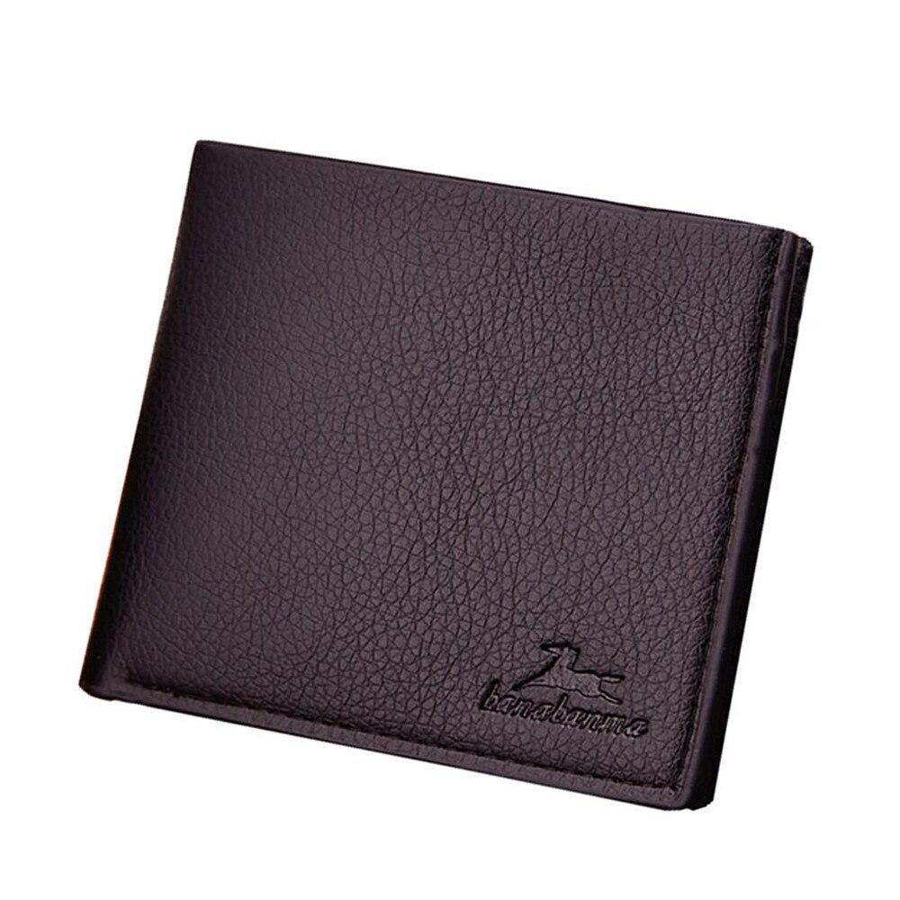 Cartera de cuero estilo Vintage para hombre, cartera masculina de lujo, corta, ajustada, con Clip para dinero, tarjetero, Portomonee, bolso sólido