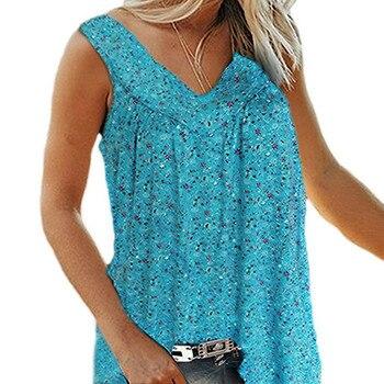 Blusas veraniegas de gran tamaño, camisa informal elegante de ocio sin mangas Vintage con estampado Floral, chaleco con cuello en V, blusas femeninas de talla grande 7XL