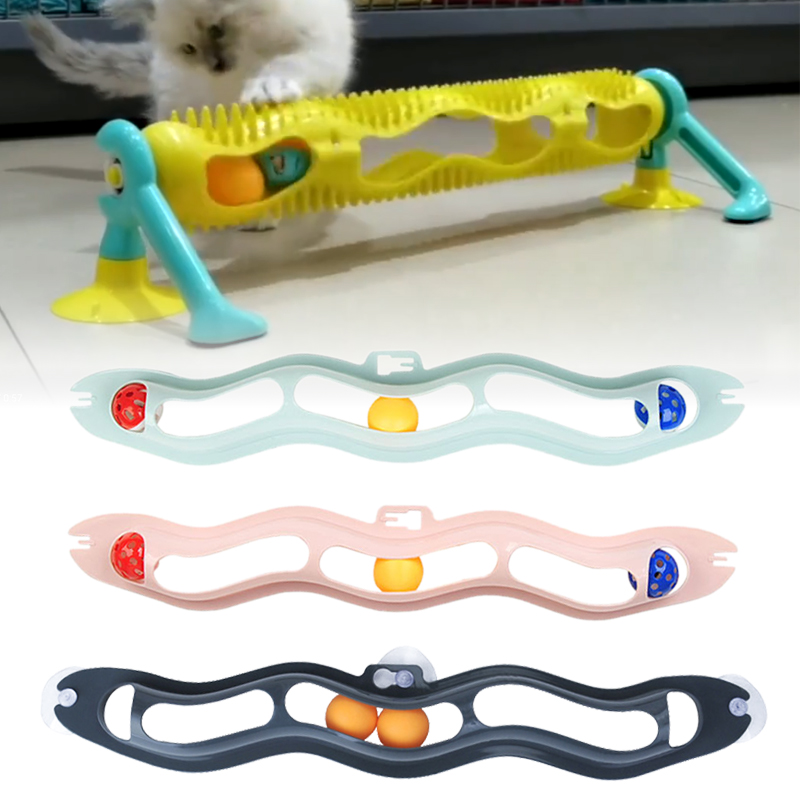 Cat Toys Interactive Track Ball Window Suction Cup Toy Catnip Balls Massage Plastic Sucker Funny Cat Game Intelligence Toy