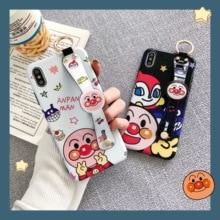 Cartoon Anpanman Phone Case Luxury Wrist Strap Holder Soft Cover for iPhone 6 6s 7 8 Plus X XS XR XSMax