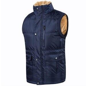 Image 2 - Autumn Winter Fleece Mens Vest Casual Mens Sleeveless Solid Color Black Warm  Plus Size 7XL Thick Mens Vest Jacket Casaco Gilet