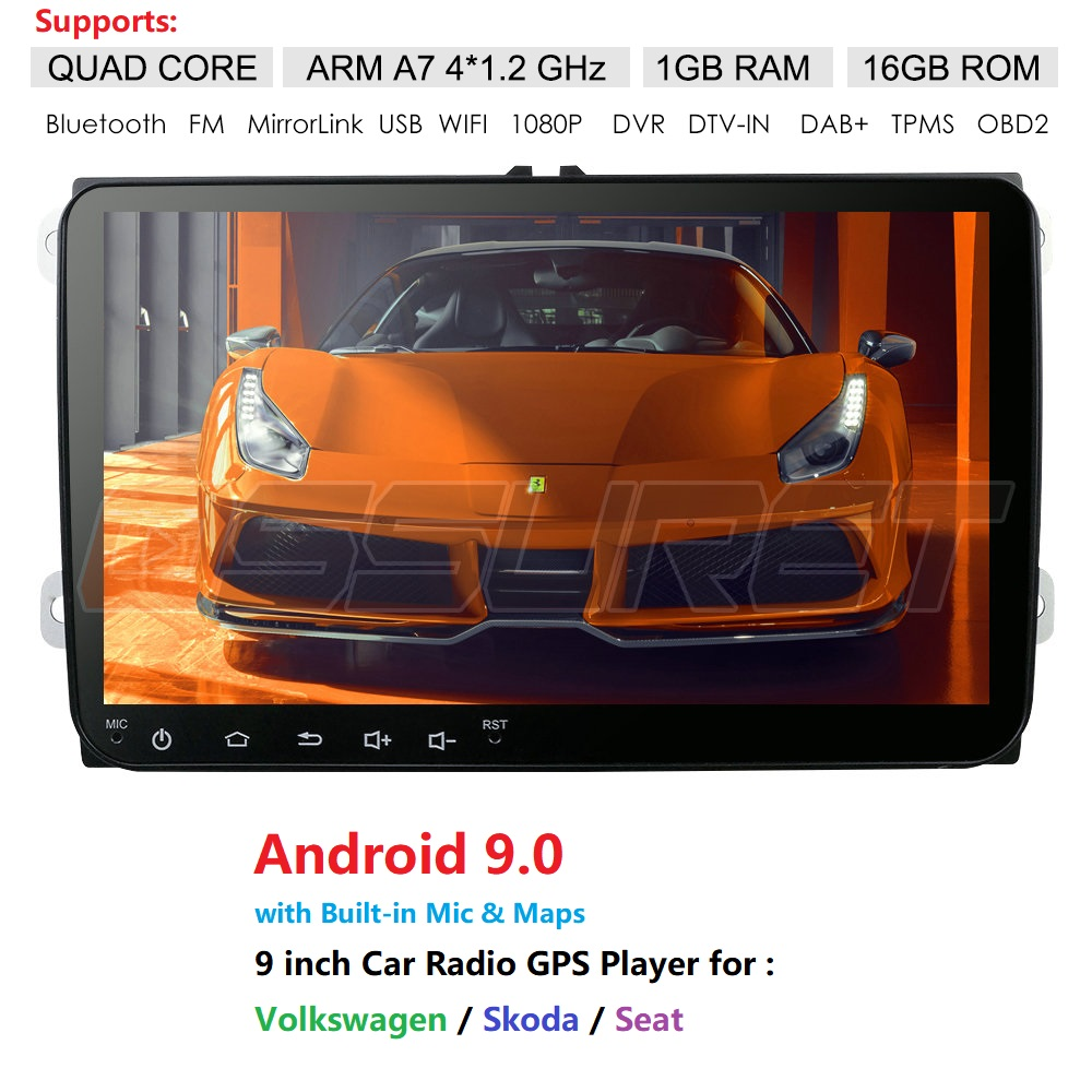 2Din Android 9.0 Car Navi For VW/Volkswagen/Golf/Polo/Tiguan/Passat/b7/b6/leon/Skoda/Octavia Car Radio GPS Car Multimedia Player