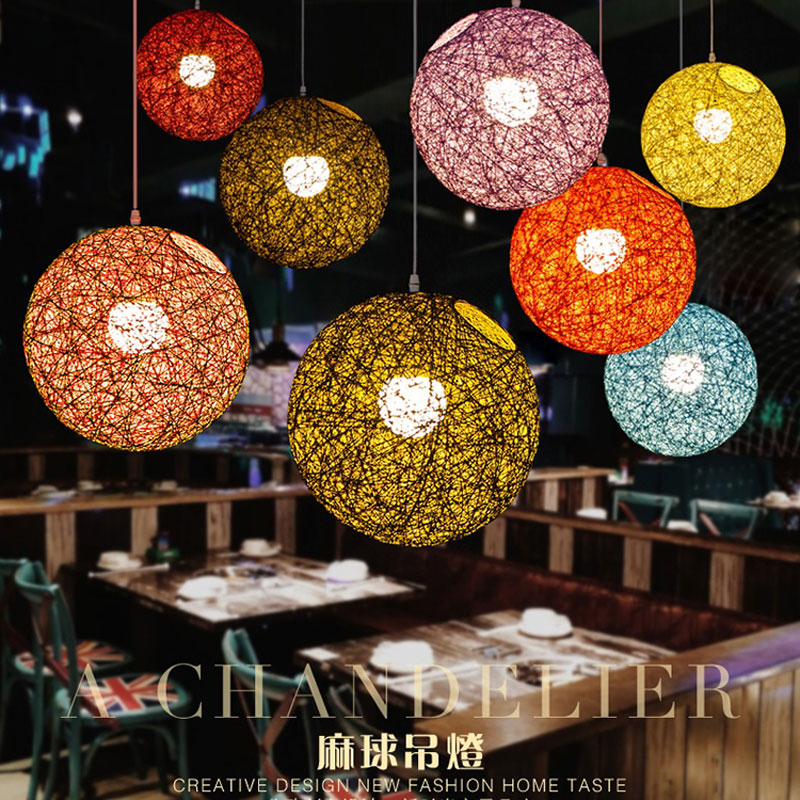 20cm Rattan Ball Lampshade Light Case Hanging Pendant (No Light Source) With E27 Suspension Wire & Round Creative Design Beauty
