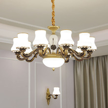 American Luxury Glass Chandelier Living Room Crystal Lamp Hotel Candle Lamp Bedroom Dining Room Retro Lamps Lanterns american style resturant pendant lamp vintage glass candle pendant lamp clothes store living room hotel lamps