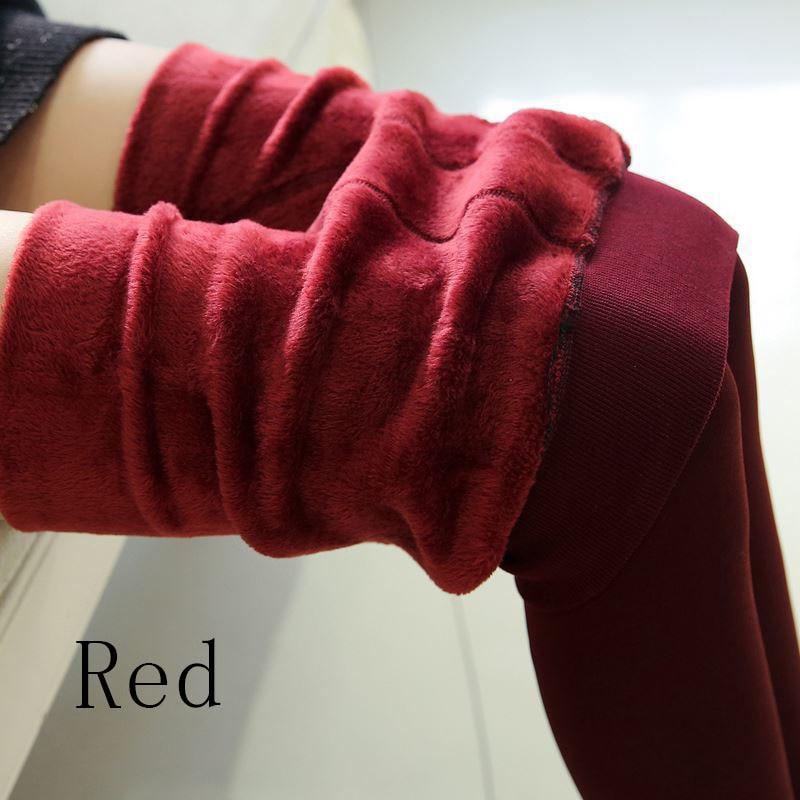 Новые модные женские осенне-зимние штаны высокого эластичности и хорошего качества, плотные бархатные штаны, новые теплые леггинсы Rooftrellen - Цвет: 88 red