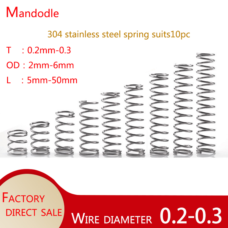 304 stainless steel spring wire diameter 0.2-0.3 2-6 mm diameter 5-50 mm in length compression Small spring 10pc