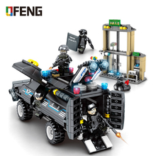 City Police SWAT Station Building Blocks Vehicle Helicopter constructor  kits Educational Bricks Toys for Children Gift sembo city police trucks military trunk satellite communication equipment vehicle building blocks educational toys for children