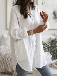 Womens Spring Autumn Blouses Fashion Irregular OL Blusa Cotton Linen Tops Casual Solid Long Sleeve Shirts Oversized