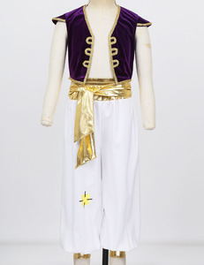 Image 5 - iiniim Kids Boys Arabian Prince Fancy Cosplay Costumes Cap Sleeves Vest Waistcoat with Pants Set for Halloween Dress Up
