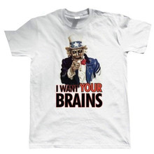 2019 I Want Your Brains, Mens Funny Zombie T Shirt - Gift For Him Dad 100% Cotton Tee Hoodies