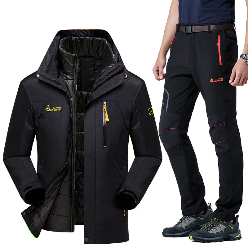 Ski Suit For Men Winter 2019 Waterproof Windproof Thicken Warm  Ski Jacket Snow Clothes Men Skiing And Snowboarding Jackets Sets