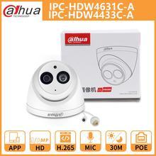 Dh dahua câmera ip 4mp 6mp IPC HDW4631C A IPC HDW4433C A dome cctv câmera com ir poe embutido mic rede metal escudo onvif