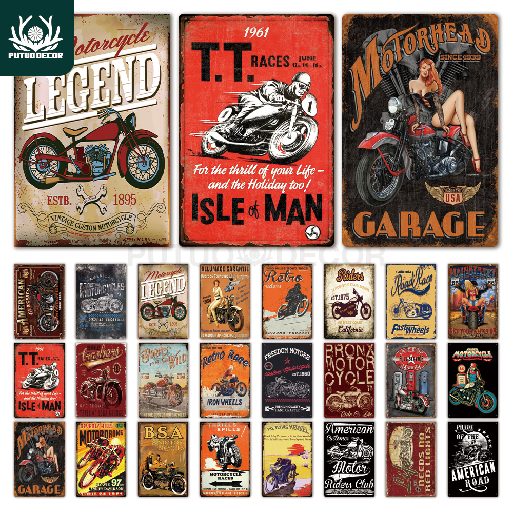 Motorcycle Tin Signs Retro Metal Sign Plaque Metal Vintage Wall Decor for Garage Bar Pub Man Cave Decorative Plate Iron Painting title=