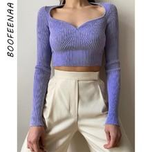 BOOFEENAA Sexy wyposażone V Neck kobieta swetry jesień 2020 kobiety odzież sweter z dzianiny swetry krótkie bluzki Dropshipping C76-CC21