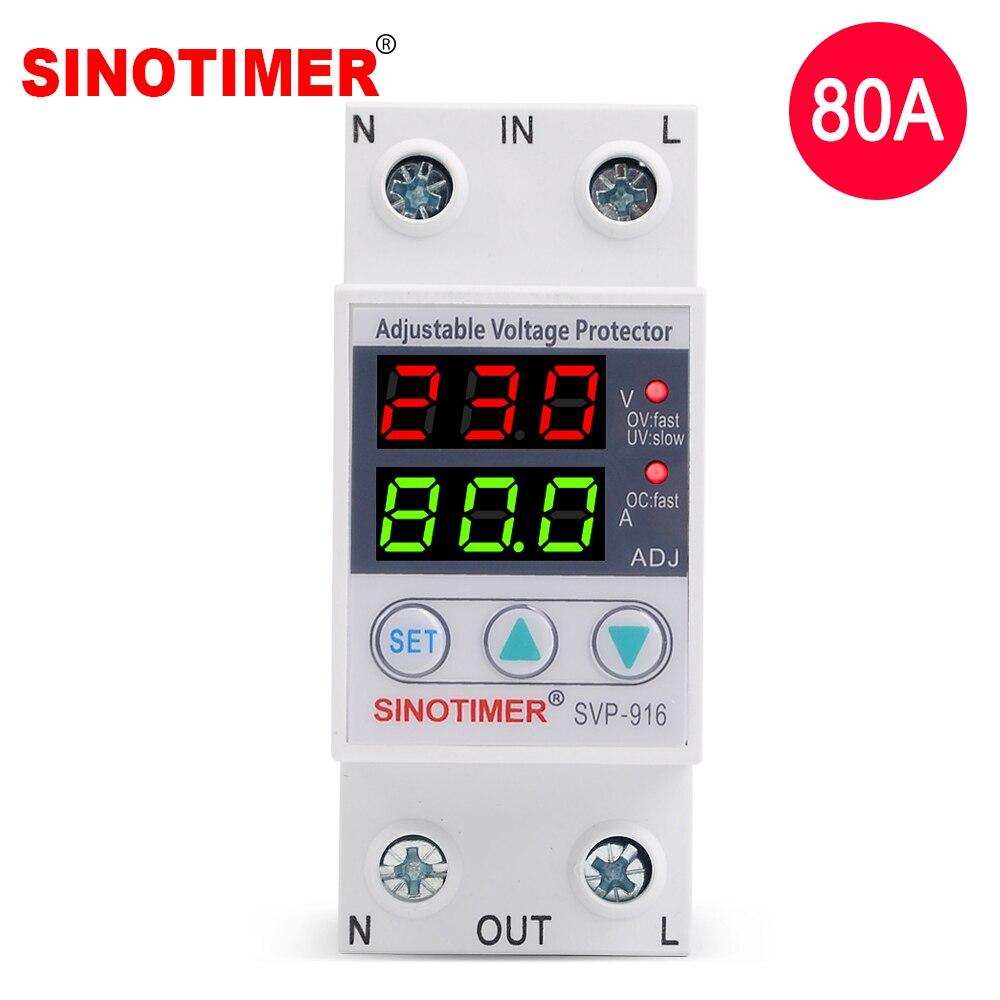 Uso doméstico Dual Display LED 40A 63A 80A Din Rail 230V Protetor Contra Surtos de Tensão Relé com Protecção Limite de Corrente Ajustável