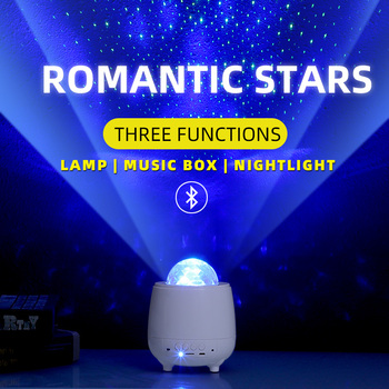 Romantic Colorful Starry Star Projector Night Light Remote Control Dream Ocean Wave Projection Lamp With Bluetooth Music Speaker