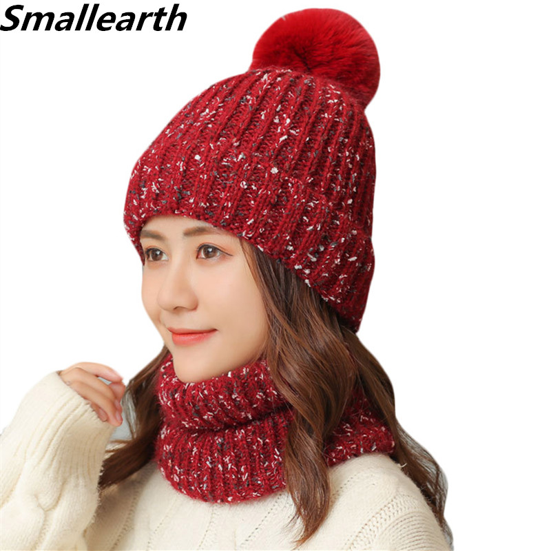 New Winter Hat Scarf Set Women Plus Velvet Thickening Windproof Cold Cap For Girl Warm Hat 2Pcs Sets Female Knitted Caps Scarf