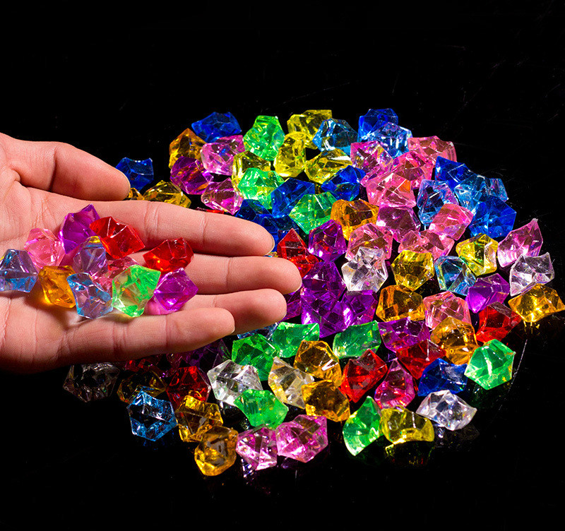50g Crystal Gemstones Lucky Stone Seven-color Crystal Diamond Plastic Crushed Ice, Acrylic Ice, Colorful Shore Broken Stone
