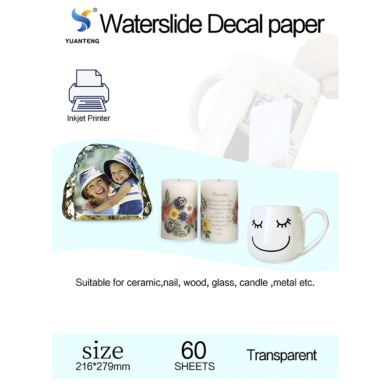 Letter Size Water Slide Decal Paper Clear Transfer Inkjet Printer Premium Papel Decal Transparente Papier De Transfert 60 Sheets