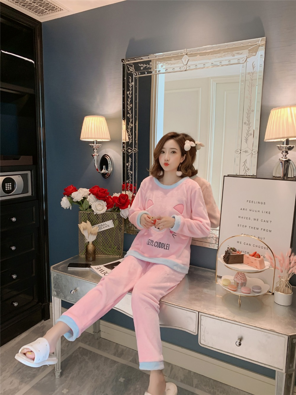 Betyline 2019 New Winter Pajamas For Women Sleepwear Warm Flannel Long Sleeves Pajamas Cute Animal Homewear Thick Homewear 141