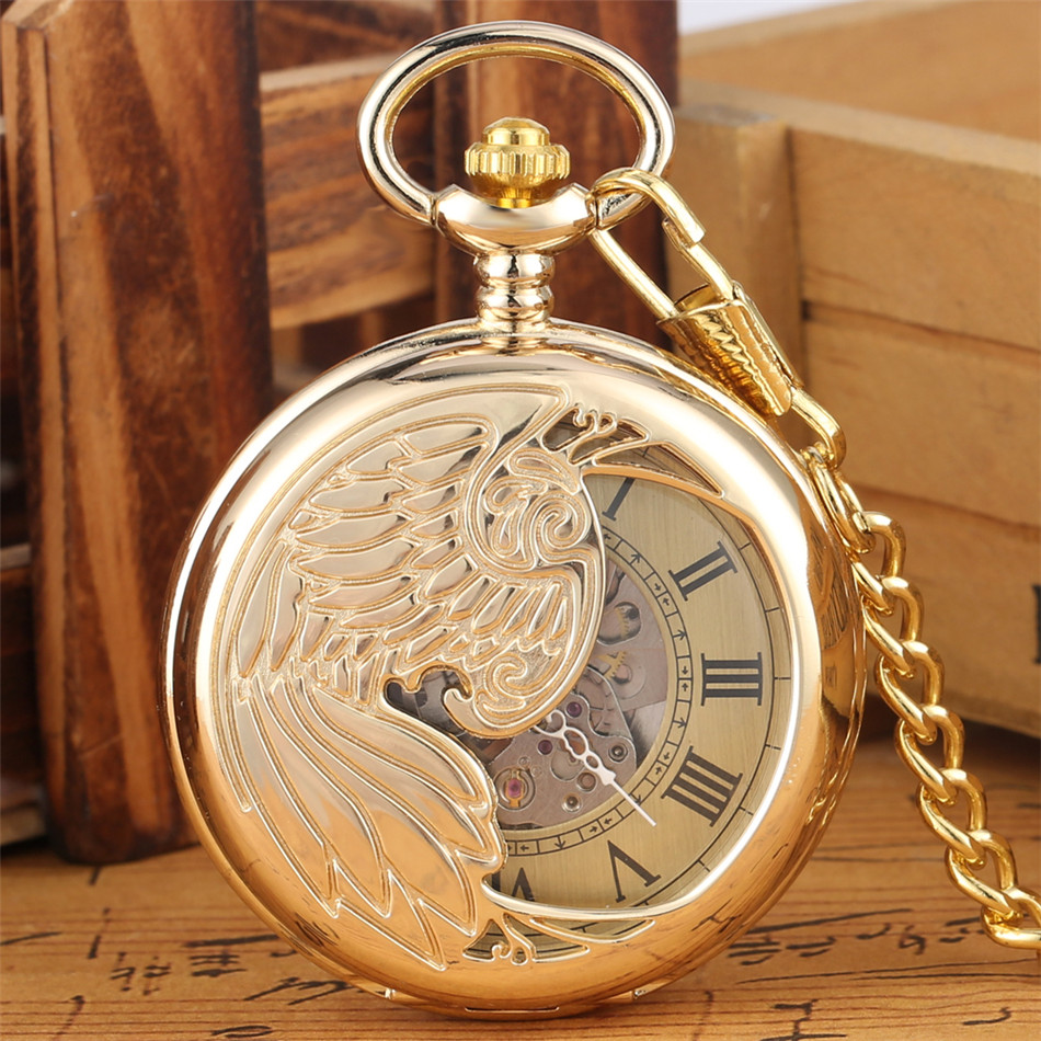 Half Cover Silver/Gold Wings Mechanical Pocket Watches Roman/Arabic Numerals Dial Vintage Pendant Mechanical Watch Fob Chain