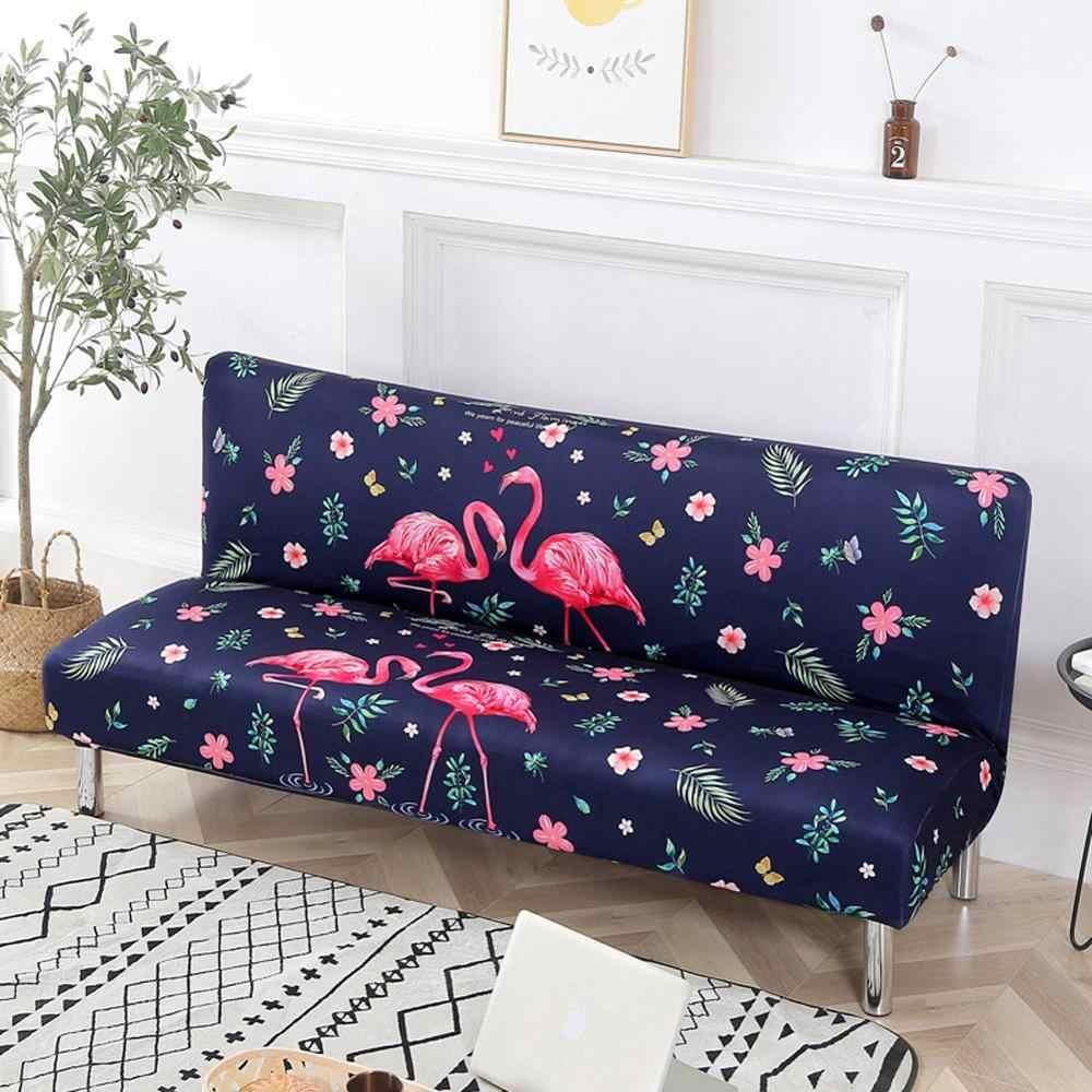 INS Pink Flamingo flores azul elástico sin sofá con reposabrazos cubierta sin Armless Slip Cover poliéster/Spandex sala de estar