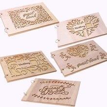 Персонализированный гость книга сердце деревянные гостевые книги подписи сообщение скрапбук альбом деревенский Свадебные подарки записная книжка