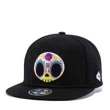 High Quality Fashion Personality Color Skull Embroidery Hip Hop Hat Men Women Black Cap