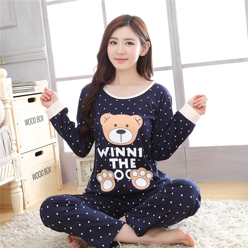 Winter Cute Pajamas Cartoon Printed Long Sleeve Two Piece Home Wear Women Casual O-Neck Pyjamas Spring Autumn Sleepwear Set
