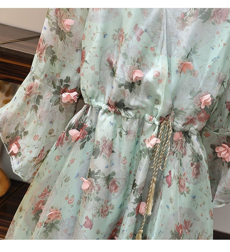 Women V-Neck Floral Appliques Chiffon Dress 2019 Summer Flare Sleeve Belt Flower Print Dress Empire Plus Size Mini Dresses 62