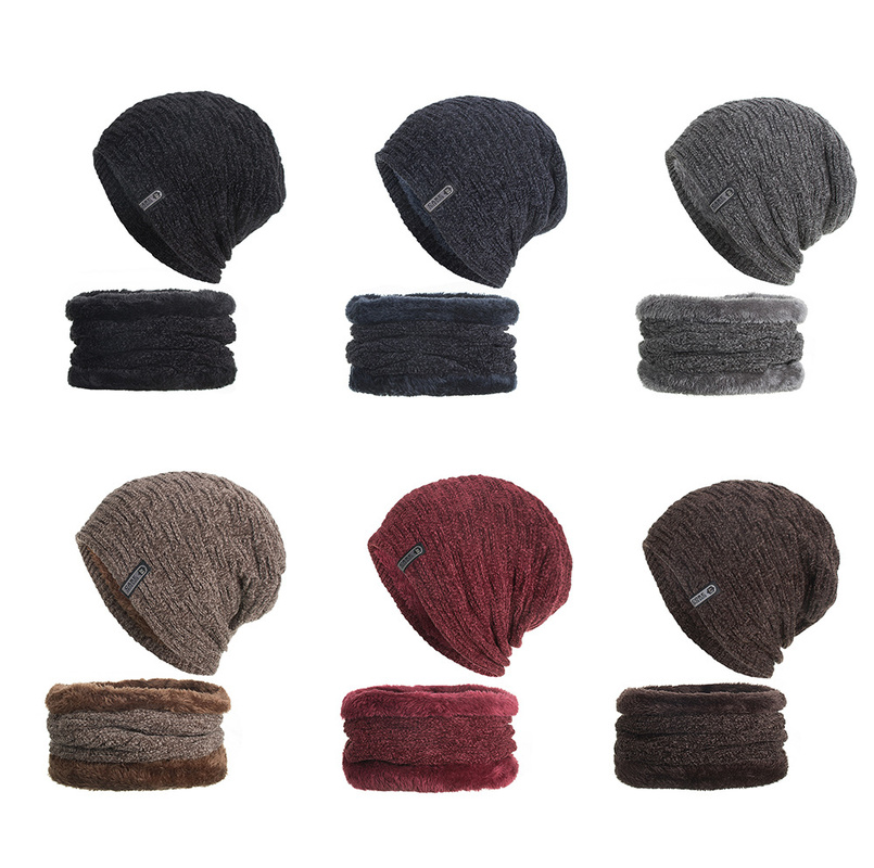 Helisopus Hat Scarf Set Winter Warm Men's Knit Hat Scarf Set Outdoor Accessories For Men's Gift