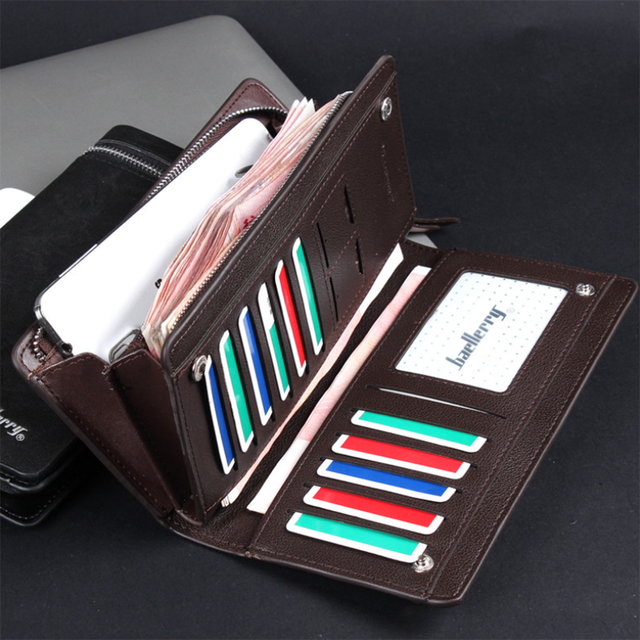 Men Long Wallet Clutch Bag Credit Card Holder Purses Carteira Masculina Carteras Billetera Hombre Leather Money Portfe Carte 4
