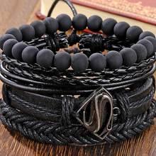 Bead Bracelets Bangles Jewelry Multilayer Wide-Wrap IFMIA Black Vintage Hollow Men Fashion