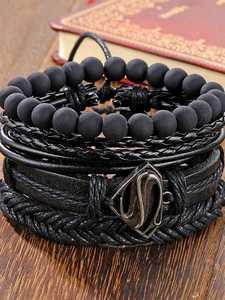 IFMIA Bead Bracelets Bangles Jewelry Multilayer Wide-Wrap Black Vintage Men Fashion