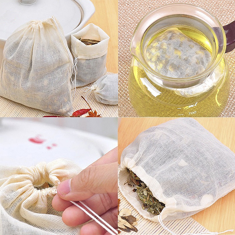 10 Piece Drawstring Straining Tea Cooking Separate Spice Filter Bag Reusable Set