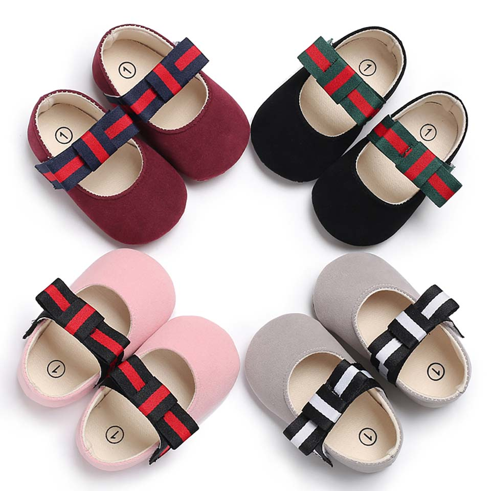 Casual Baby Shoes Infant Baby Girl Crib Shoes Bowknot Soft Sole Prewalker Sneakers Walking Shoes Toddler Mary Jane Cute Bebe New