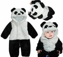 Детские рисунок панды теплые зимние комбинезоны Рабочий комбинезон