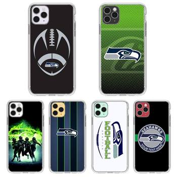 Seattle Seahawks Team Phone Case Transparent For Iphone 11 12 Pro Max Xr X Mini 7 8 PLUS Coque Cover image