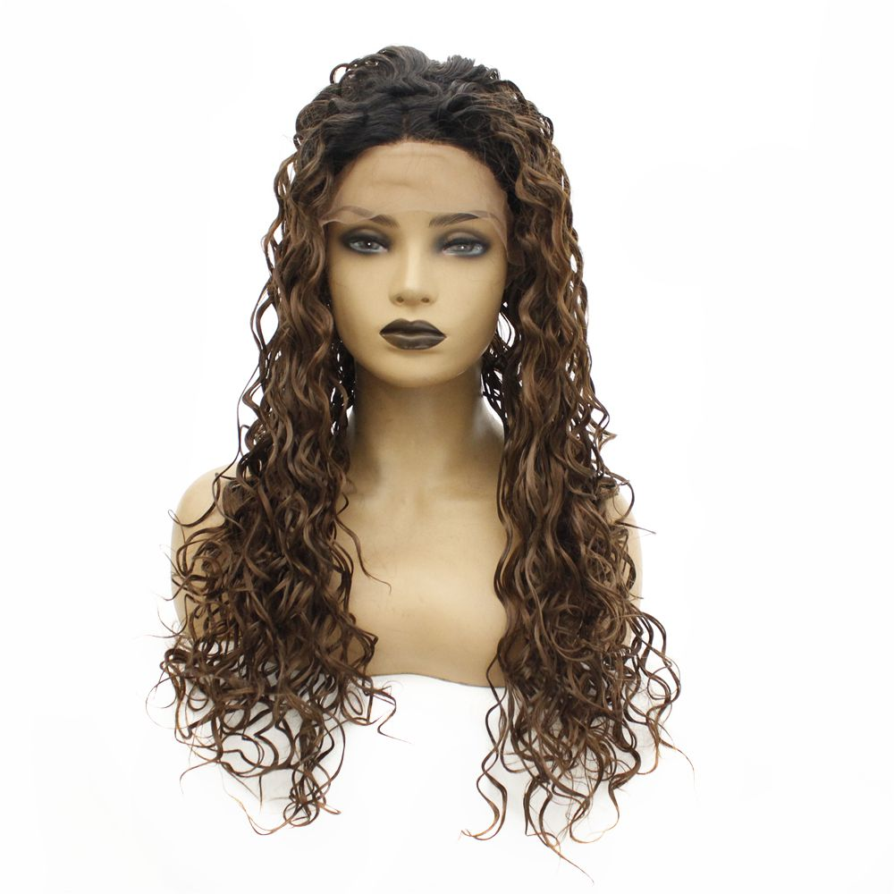 Dark Roots Ombre Brown Afro Kinky Curly Hair Glueless Synthetic Lace Front Wig 180% Density Long Curly Wigs for Black Women