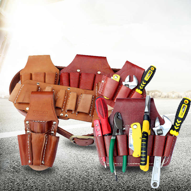 Portable Cowhide Tool Bags Multifunction ToolKit Rolled Chisel Plier Woodworking Electrician Tool Organizer