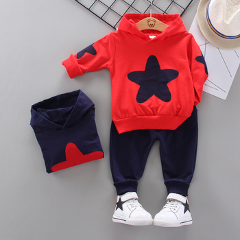 Spring Autumn Kids Clothes Sets Baby STAR Cotton Sports Hooded Sweater Shirt Pants Children Boys Casual Suit 0-5 YEARS