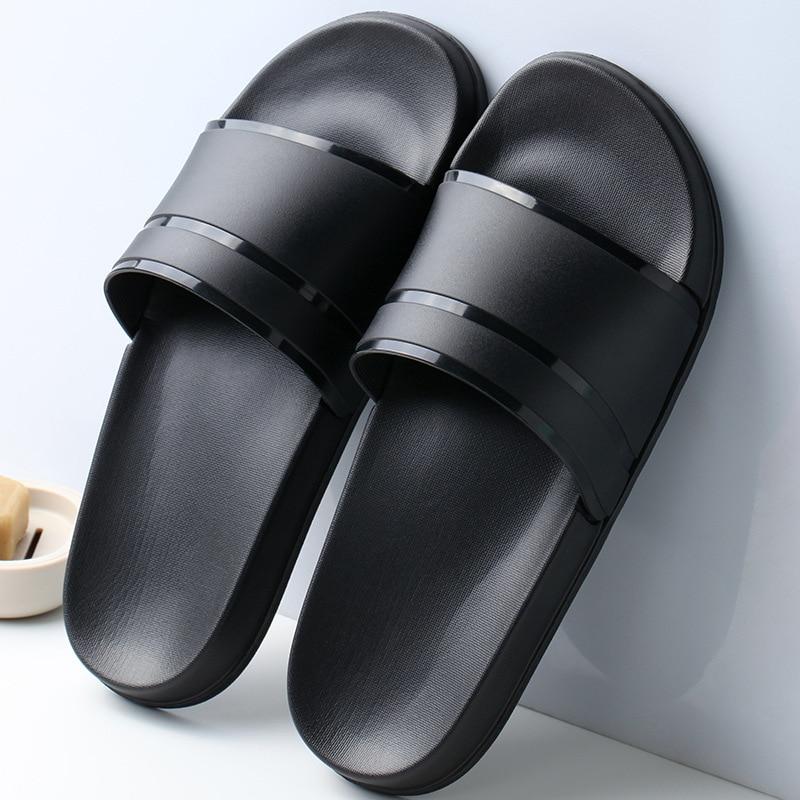 2020 New Hot Summer Men Slippers Casual Black White Shoes Non-slip Slides Bathroom Sandals Soft Sole Women Slides Plus Size 47