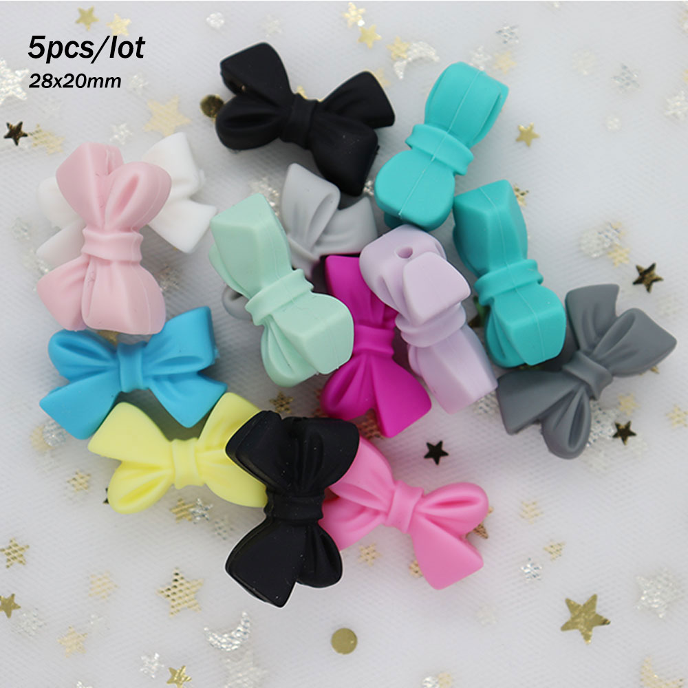 5Pcs Bow Tie Beads 2.8cm Perle Silicone Teether Bead Food Grade Teething Necklace DIY Bead Bow-tie Perle Silicone Dentition Toy