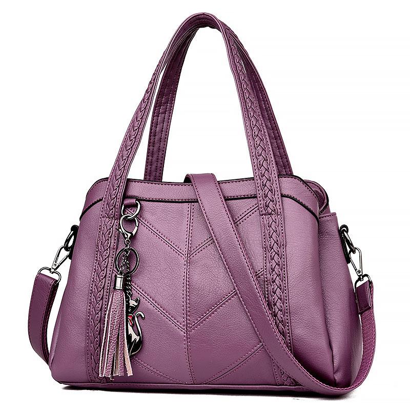 Women handbag pu leather bags women 2021 new fashion tassel luxury women shoulder bags ladies leather zip handbags women bags